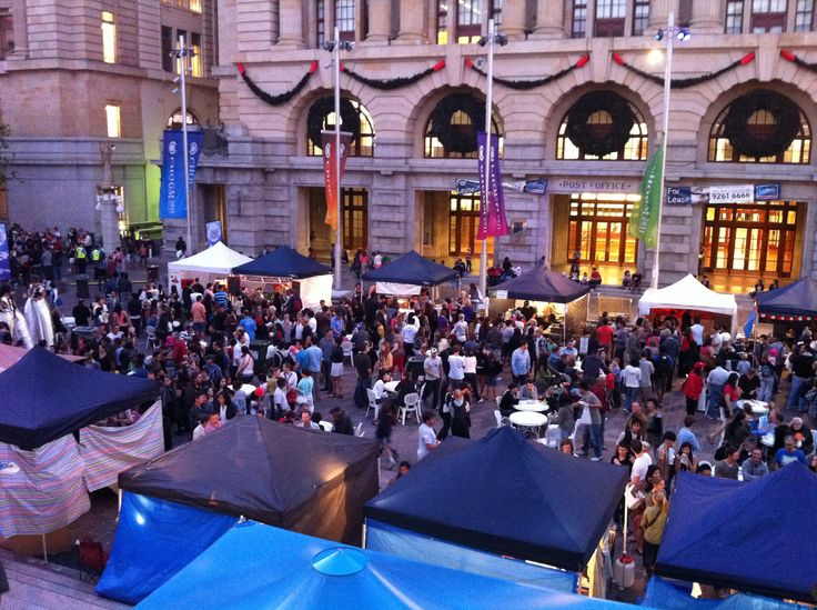 Exotic international cuisines @ the Twilight Hawkers Market, Forrest Place, Perth. Held every Friday night during summer.