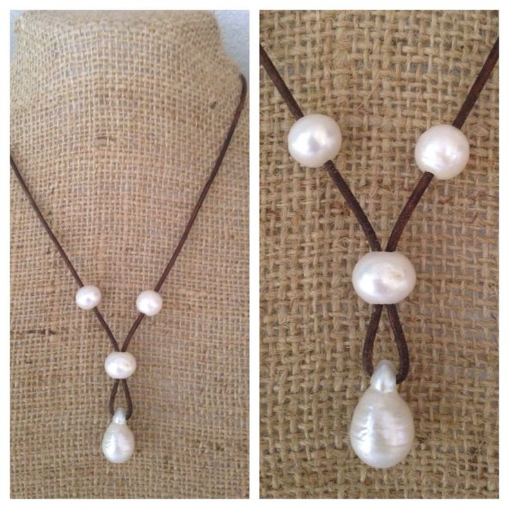 Simple pearl and leather design lends itself to easy layering with all of your other favorites! Large freshwater pearls measure about 13mm accented with a teardrop Keshi pearl drop. each pearl is hand
