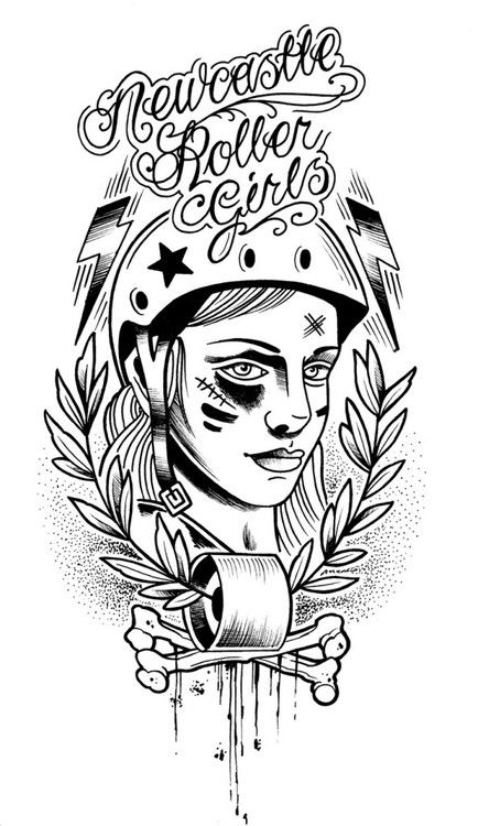 Roller Derby illustration.  I like this logo style