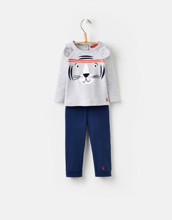 Joules UK MACK BabyBoys Novelty Two-Piece Set Grey Tiger