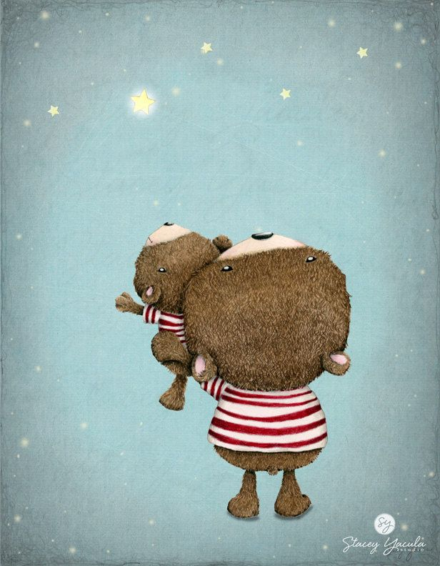 Adorable artwork—brown bears in red & white striped shirts—Reach For the Stars art print❣ by Stacey Yacula