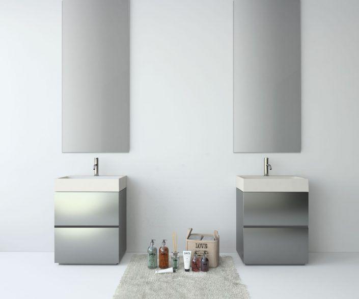 Muebles de baño a medida. Ejemplo de acabados en madera natural, laminados, lacas brillo o mate, etc.  unibaño-compactos-acabados-10