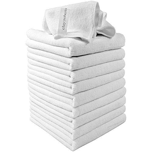 From 5.99:Microfibre Cleaning Cloths 10 Pack In White Super Soft Microfibre Dusters Clay:roberts Premium Fibre Cloths Machine Washable Antibacterial Lint-free Microfiber Cloths Suitable For Homes Kitchens Cars Motorbikes Domestic Industrial And Professional Cleaning