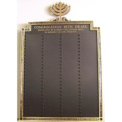 Yahrzeit Memorial Plaque - Menorah Bronze Tablet