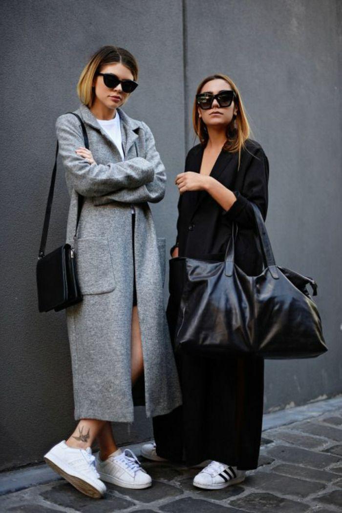 manteau zara gris noir pour les filles modernes avec lunettes noires