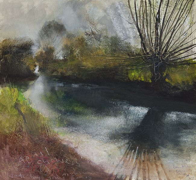 Waterhay, young Thames. April showers, chiffchaff singing. April 2013 in KURT JACKSON from The Redfern Gallery