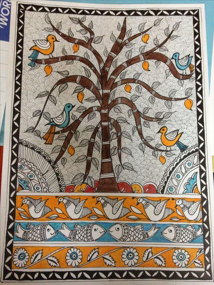 Madhubani tree of life. Artists Jaishree Bansal and Priyanka Bansal