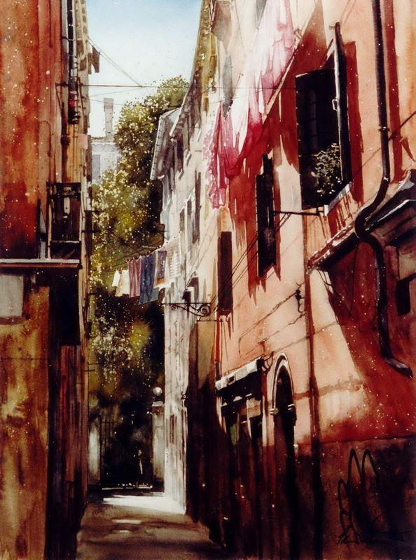Архитектор-акварелист Paul Dmoch. Red House, Santa Croce, Venice