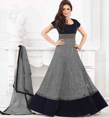 Gorgeous Grey Madhubala So called Drashti Dhamni Designer Anarkali
