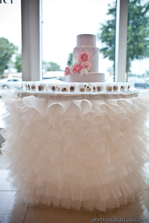 decorating wedding cake table with tulle ruffled table linen for cake table wedding ideas 13421
