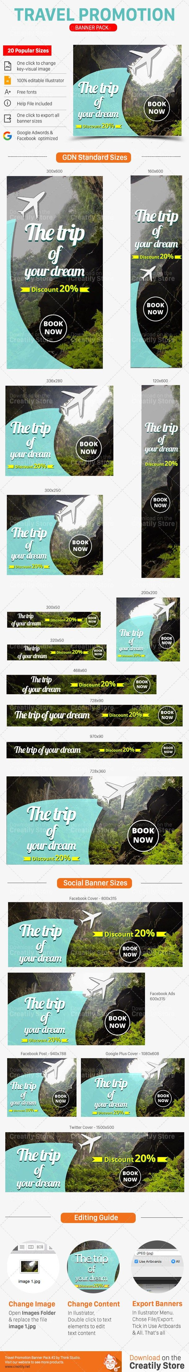 Promote your Travel Services with this great looking Travel Banner Ads Set.  Tag: travel, trip, banners, promotion, set, google, adwords, gdn, facebook ad, template, ad sizes, vacation, website banner, marketing, banner set, banner pack