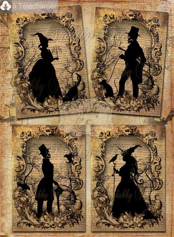 VINTAGE HALLOWEEN SILHOUETTES Collage à imprimer vous-même - Silhouettes no1 - Collage,Scrapbook, Cartes Vintage IMPRIMABLES. ♥ Envoi par E-Mail : Art numérique par shabbyfee