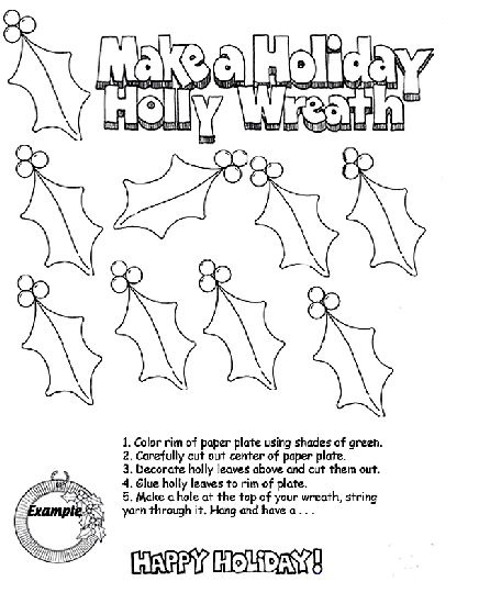 Holiday Holly Wreath Coloring Page