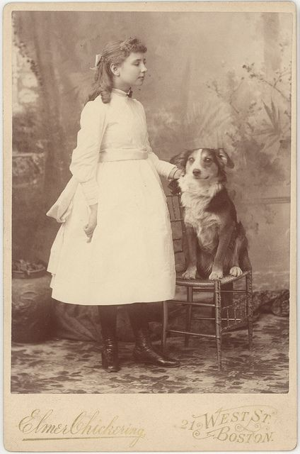 Helen Keller, with her dog, circa 1888. Visit the Perkins Archives Flicker page: http://www.flickr.com/photos/perkinsarchive/collections/