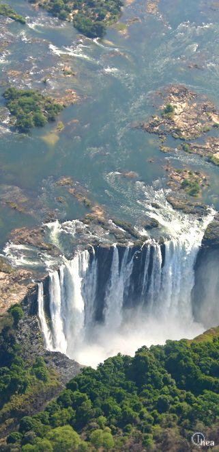 Victoria Falls bordering Zimbabwe and Zambia in Africa