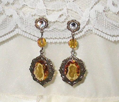 Titanic Jewelry Madeleine Astor's Glass Topaz Dinner Earrings