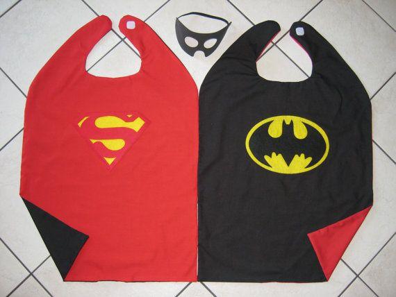 Homemade reversible super hero capes.