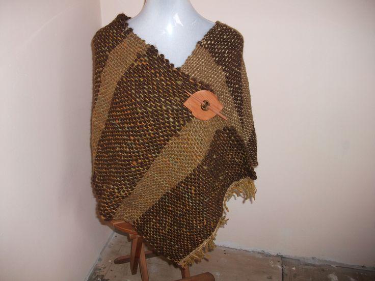 poncho en telar maria,lana rustica