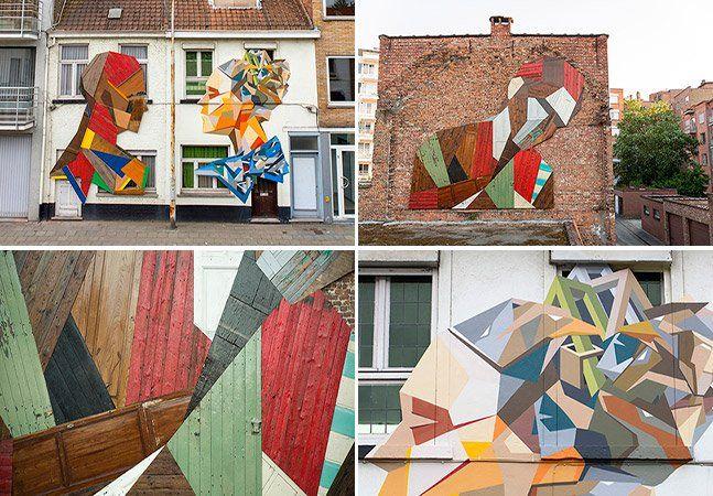 """Stefaan De Croock vive e trabalha na Bélgica. Além de telas e esculturas, o artista que assina suas obras como Strook, repaginou o cenário da cidade de Mechelen com um mural feito de portas e antigas mobílias intitulado Elsewhere. Strook evita repintar as peças que encontra, como madeiras descartadas, fazendo que o desgaste do tempo faça parte da narrativa de seu trabalho. O artista declara que """"cada escultura reciclada ou mural tem sua própria história"""", deixando assim, o material falar por…"""