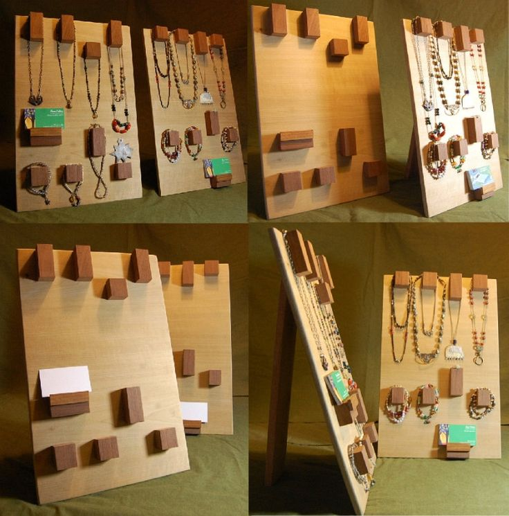 Trade Jewellery Stands : Modern raw wood jewelry display hanger stands or hangs