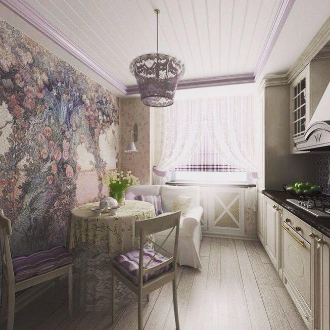 Фреска в кухне.  #яблоня #сад #пейзаж #окно #кабинет #уют #классика #лофт…