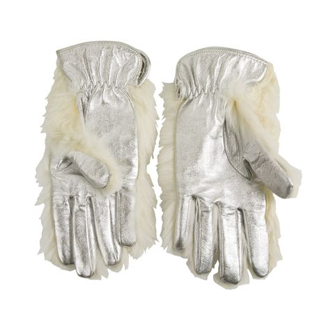 Dolce & Gabbana Women's White Fur and Silver Leather Gloves excellent condition