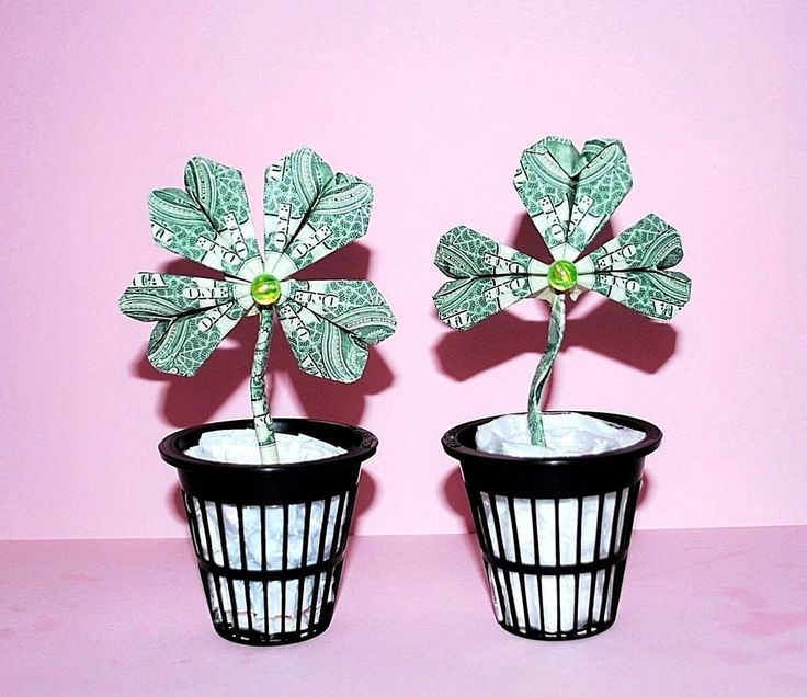 money origami shamrock lucky clover charm dollar bills st patric day flower gift #Handmade