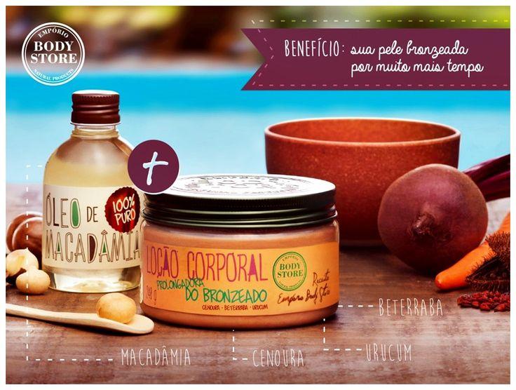 Óleo de Macadâmia Receita Body Store para nutrição e manutenção do bronzeado