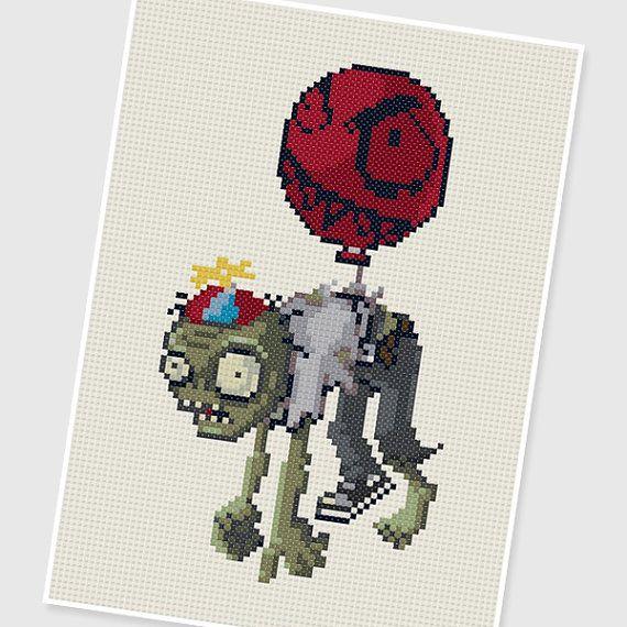 PDF Cross Stitch pattern 0292.Balloon Zombie (Plants vs Zombies) by PDFcrossstitch
