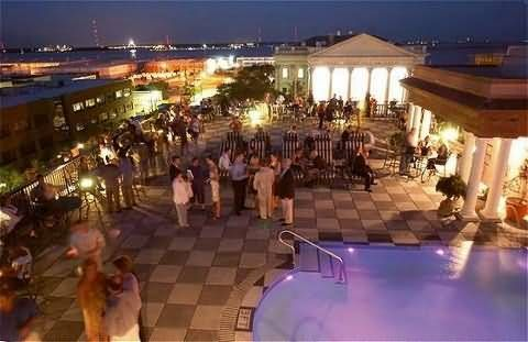 Rooftop Pavilion Bar near the Market - Downtown Charleston, SC.  This is the best place to take a first-time visitor early on in their visit.  You can see the entire city and the view is amazing!