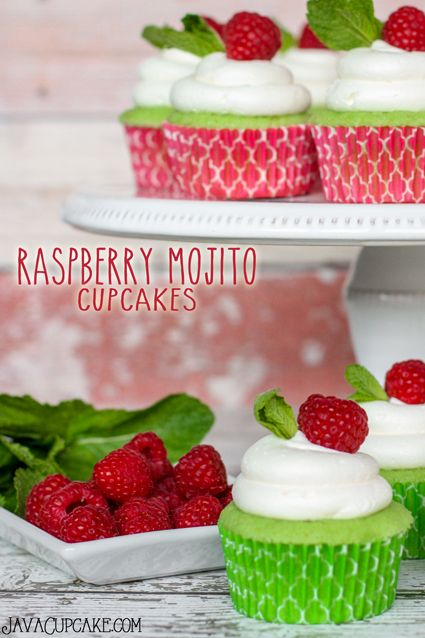 Raspberry Mojito Cupcakes - Lime cake filled with a rum raspberry preserve topped with whipped mint buttercream, fresh mint and raspberry! The perfect summertime cupcake! | JavaCupcake.com