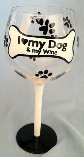 I Love My Dog. These hand-painted wine glasses feature a bone and paw print design. Each hand painted glass shows the brush strokes and slight imperfections ...