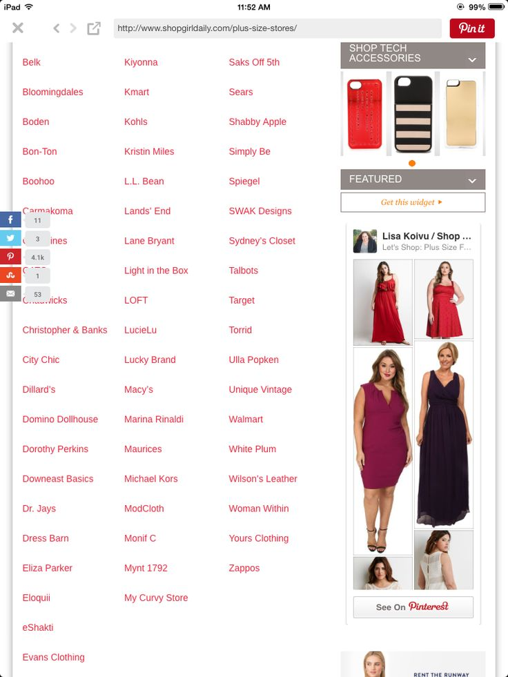 Stores that sell plus size clothing