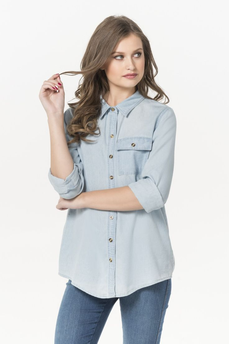 Baby blue wash denim button down shirt