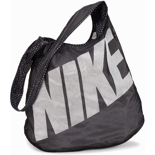Nike Graphic Reversible Tote ($33) ❤ liked on Polyvore featuring bags, handbags, tote bags, accessories sport, black, sports fashion, womens-fashion, mesh purse, nike handbags and nike tote bag