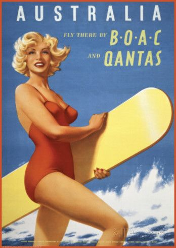 Fly to Australia by BOAC and Qantas Posters at AllPosters.com 32.99