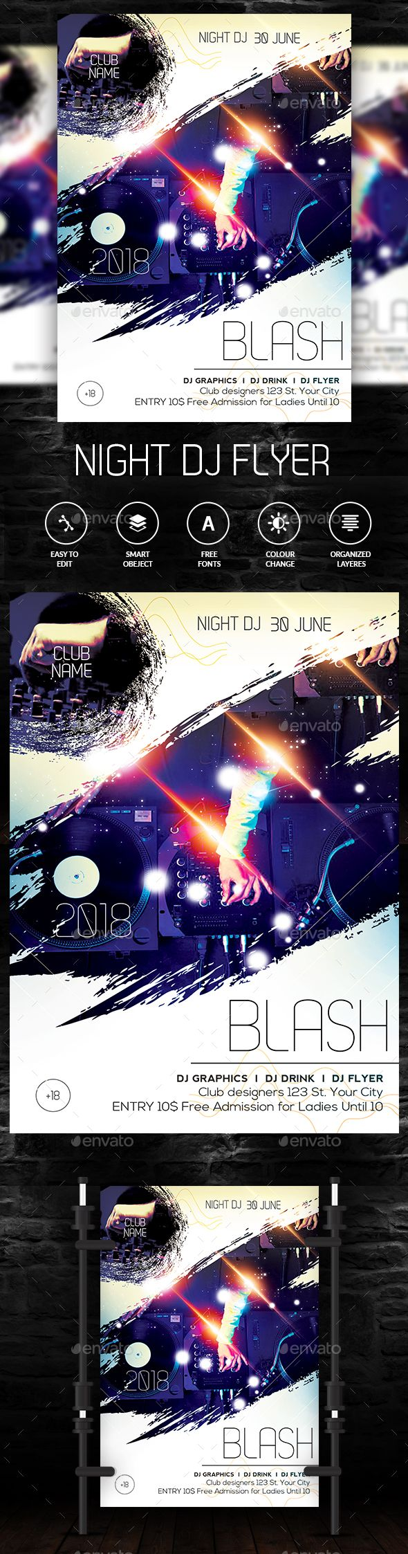 Club Flyer — Photoshop PSD #dj #electro • Download ➝ https://graphicriver.net/item/club-flyer/20257779?ref=pxcr
