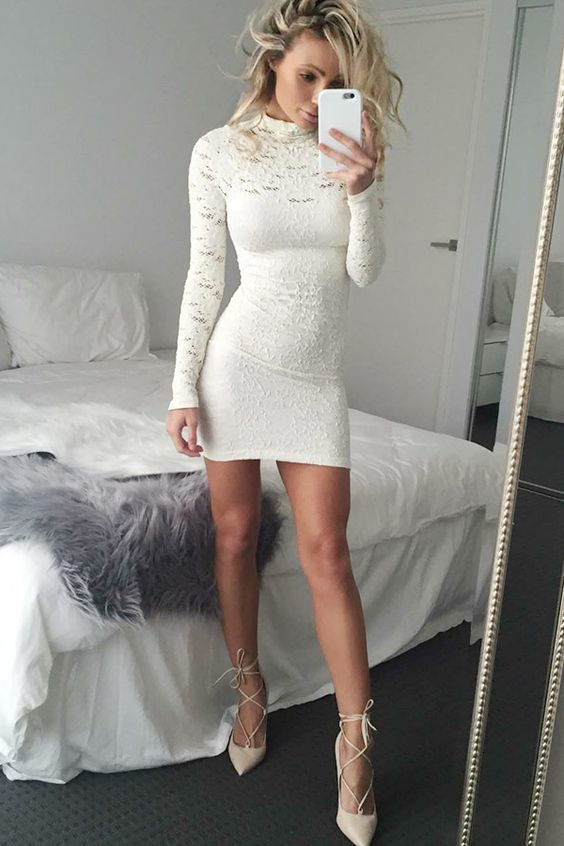 715170671c Sheath High Neck Long Sleeves Short White Lace Homecoming Cocktail Dress