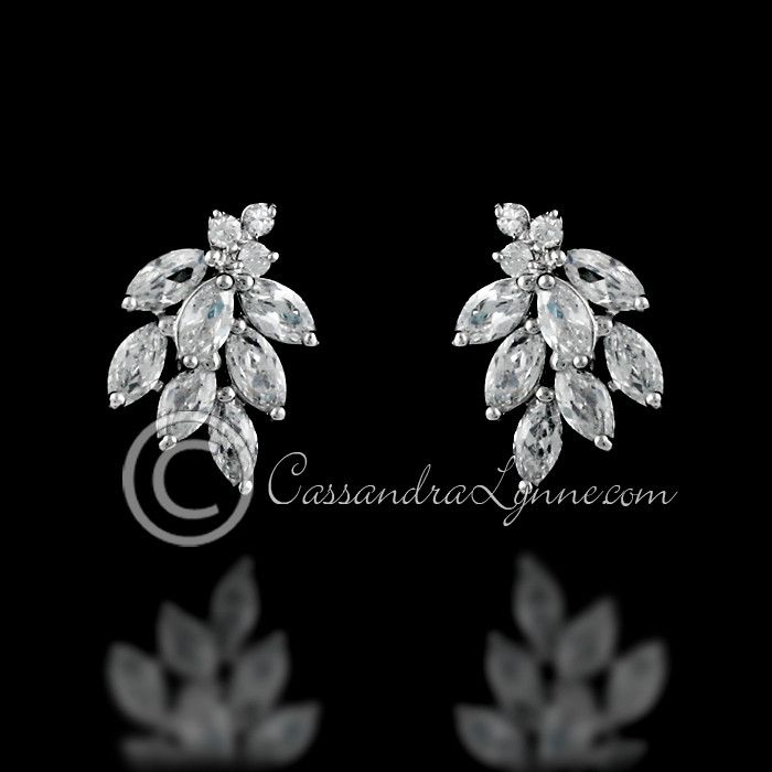 Bridal Earrings Marquise CZ Clusters from Cassandra Lynne