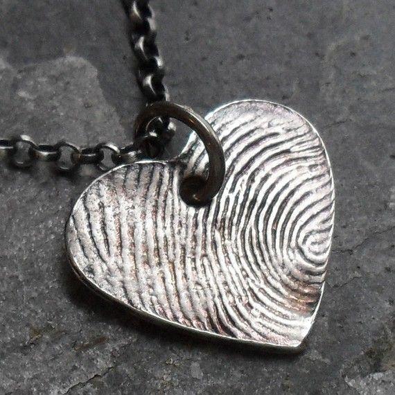 D'empreintes digitales coeur collier 1 Fine par janewearjewelry, $150.00