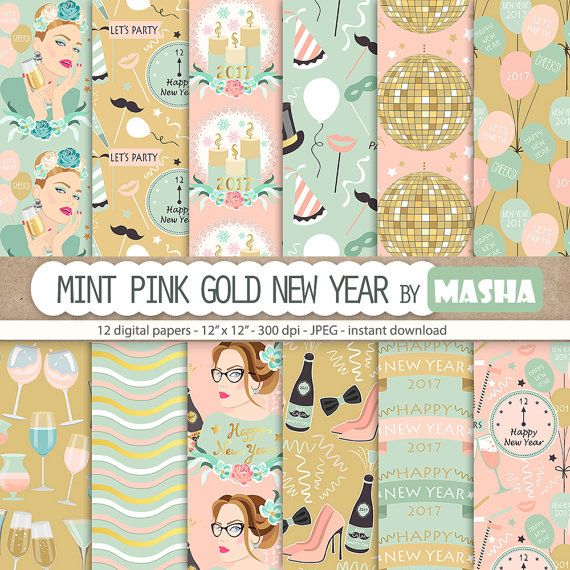 New Year Digital Papers: Mint Pink Gold New Year by MashaStudio #new #year #digital #paper #party #pattern #celebration #images #girl #mint #pink #gold #clock #scrapbooking
