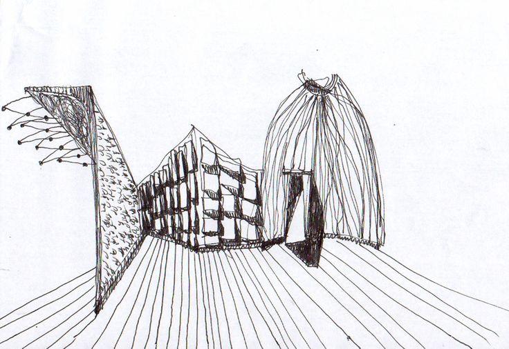 L'ingresso è una cupola verde, tracce continue e frammenti di porte antiche si compongono a ripatire lo spazio, contro-pareti rosse e tarsie metalliche luminose dialogano con opere di arte antiche e contemporanee costruendo un insieme retto dalle tracce m