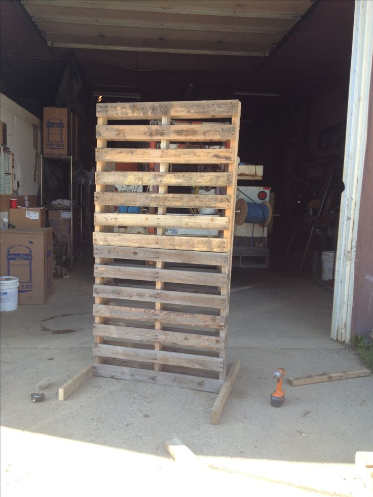 Pallet stacked for backdrop