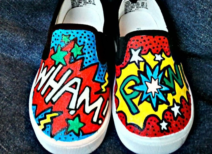 Hand-painted Super Hero WHAM and POW words on Vans shoes