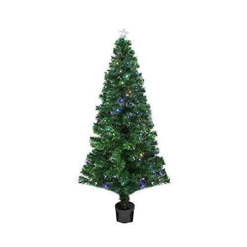 Felices Pascuas Collection 4' Pre-Lit LED Color Changing Fiber Optic Christmas Tree with Star Tree Topper