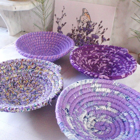 Purple Collection Set of 4 Coiled Bowls by YellowViolet on Etsy