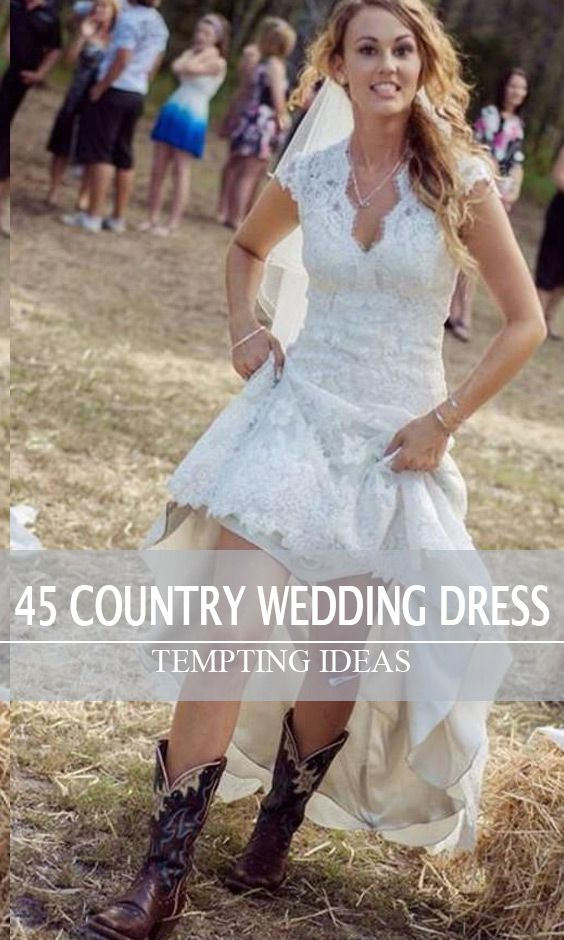 Rustic high low lace wedding dress with cap sleeves, Country chic wedding dress with cowboy boots