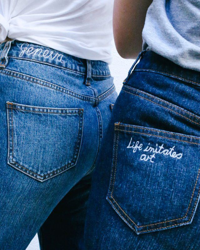 Broder un message sur un jean / comment customiser un jean facilement