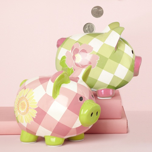 Only thing more charming than a Pink Pig is a Pink Gingham Piggy Bank . (Hey, he's pretty charming in Green, too.)    Pink and Green Gingham Piggy Banks add a classic and pretty preppy look to a future financial titan. Teaching kids how to save money is key for future generations and these potbellied pigs make it fun.    Gingham Piggy Banks measure 5 in x 6 in. Lots of room for loose change and allowance earnings.