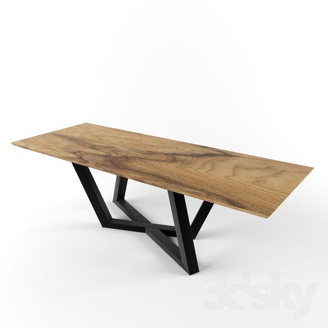 Table 6 Solid Slab Criss Cross Steel Leg Wood Table Design